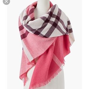 Talbots Pink Plaid wool wrap scarf. New!